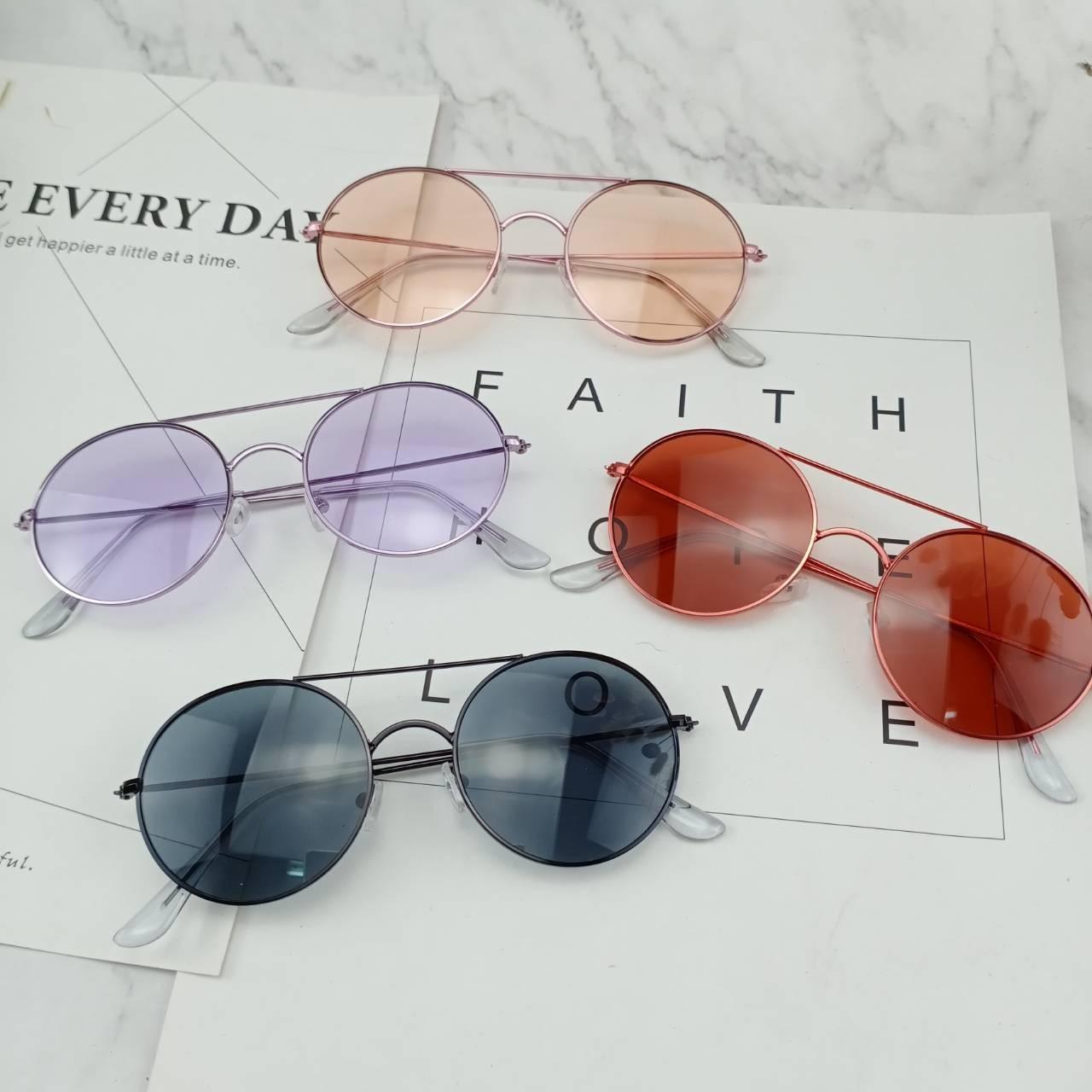 潮流復古圓形透色時髦墨鏡時髦造型太陽眼鏡防曬抗UV