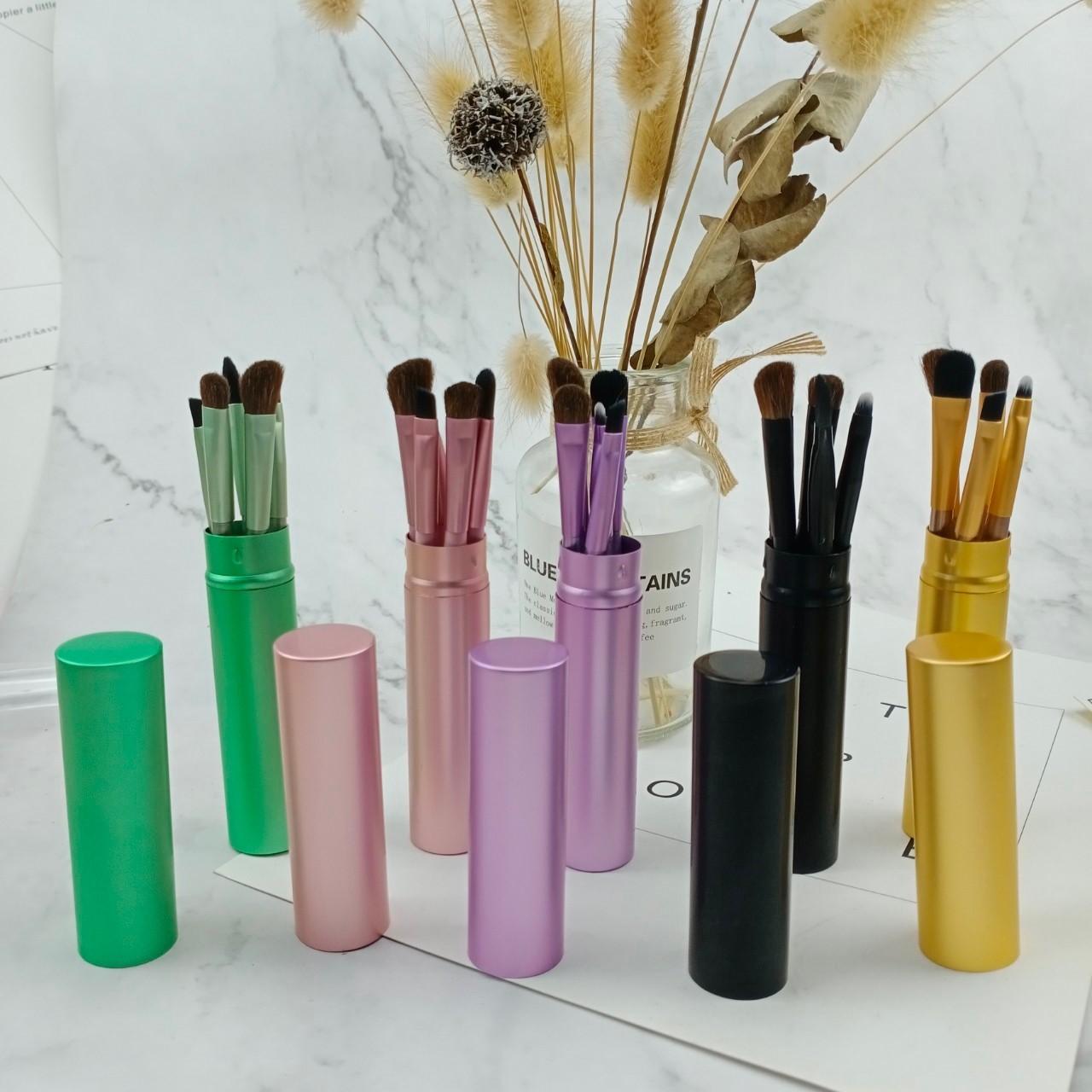 攜帶式鋁材質圓柱狀馬卡龍色系眉筆修容筆刷眼影刷細節刷彩妝用品美妝用品五支組