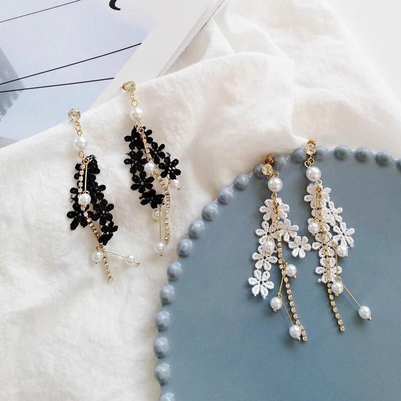韓國浪漫氣質流蘇蕾絲花朵珍珠長型鑽鑽耳環沙灘度假飾品