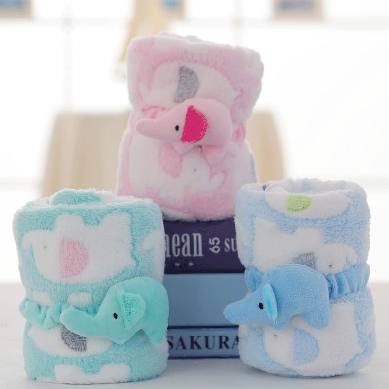 粉嫩色系大象造型法蘭絨可收納式毛毯蓋腳毯兒童嬰兒毯子