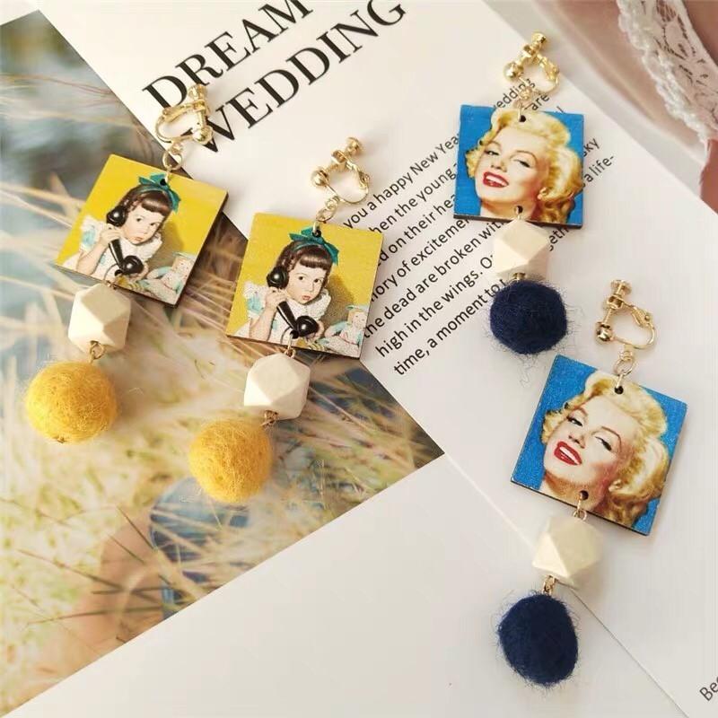 美式風格漫畫塗鴉造型木頭耳環瑪麗蓮夢露設計創意耳環