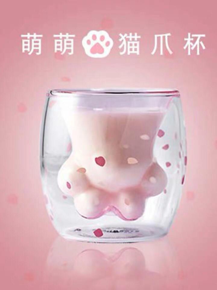 超可愛貓奴最愛貓掌杯貓爪馬克杯玻璃杯貓咪造型喝水杯牛奶杯