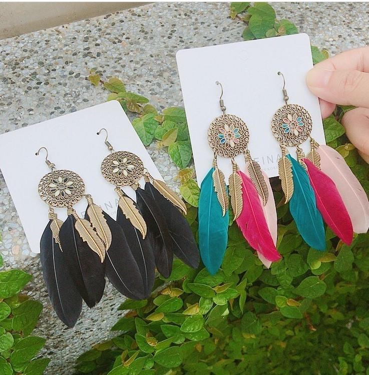 古銅色系羽毛捕夢網耳環長形耳環仙氣十足渡假風夾式耳環