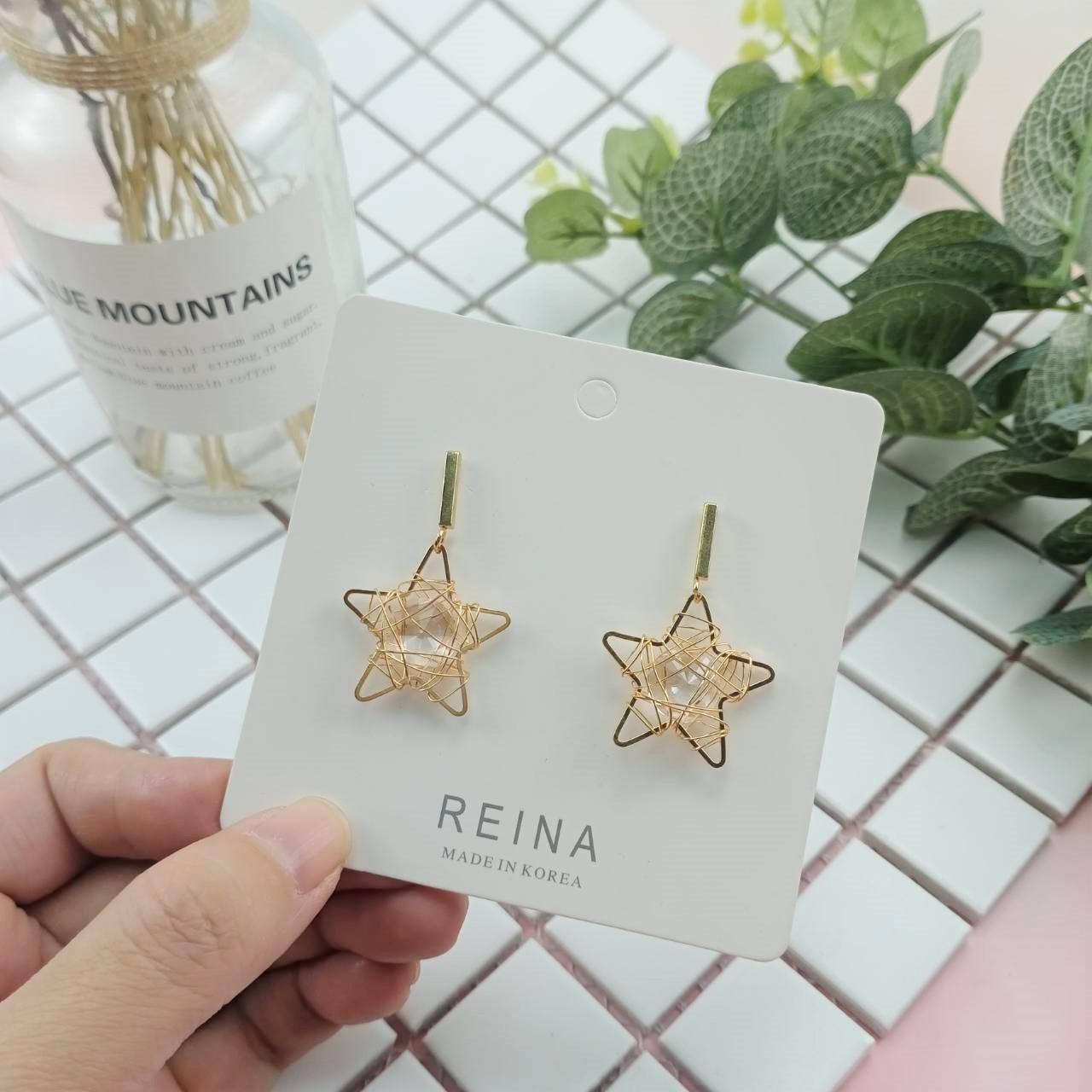 韓國金屬五芒星手作設計氣質超仙耳釘耳環星星寶石耳環