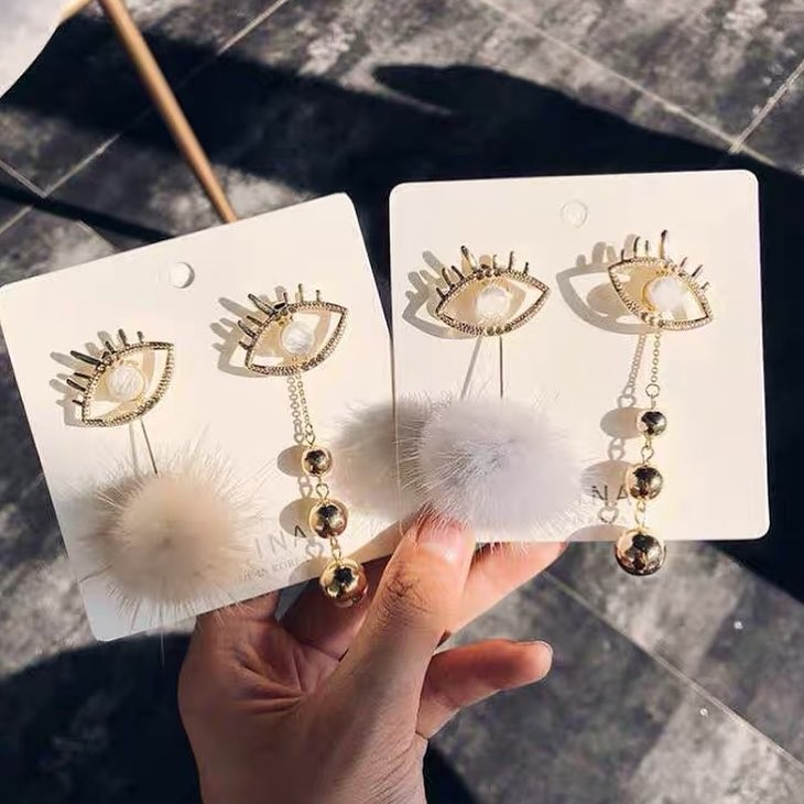 韓國特色創意眼睛造型耳釘耳環前後扣手作垂墜耳環
