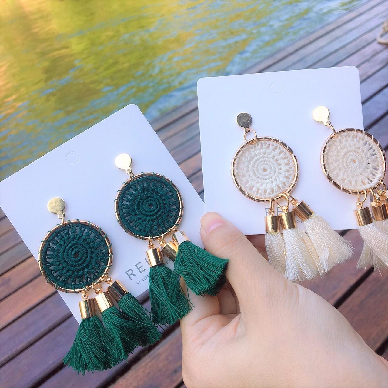 蕾絲針織造型捕夢網流蘇渡假風浪漫甜美垂墜耳環