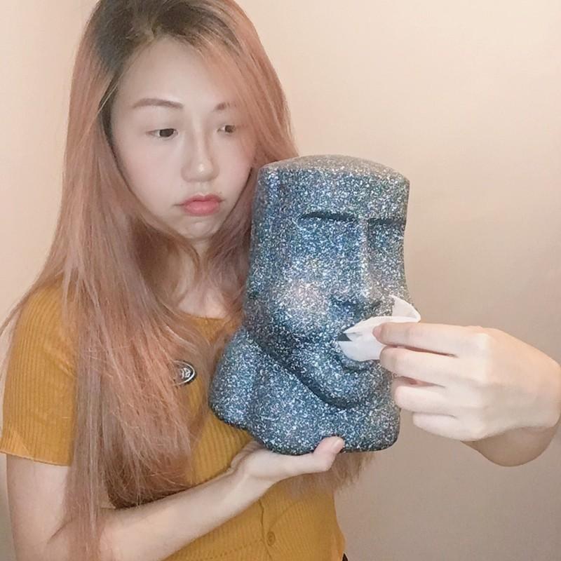 復活島摩艾石像造型衛生紙抽收納面紙盒生活用品裝飾品廚房用品