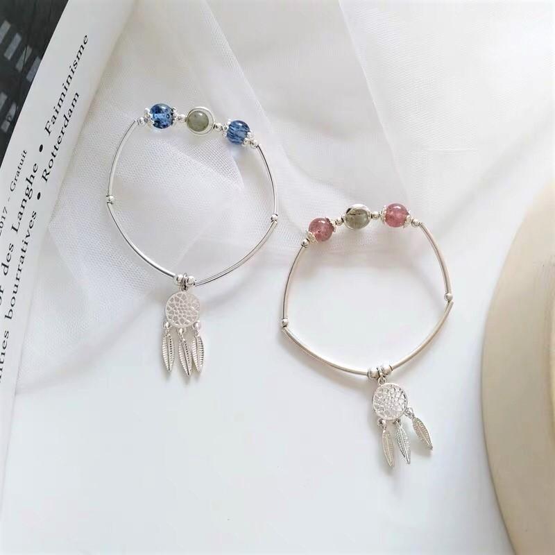 韓國東大門直送手作銀白色系草莓晶捕夢網耳環手鍊招桃花手腕飾品