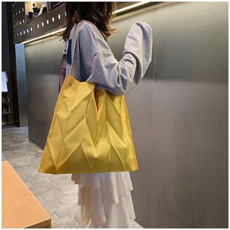 幾何圖形時髦隨性方形帆布大包單肩背帆布包個性百搭大容量帆布包
