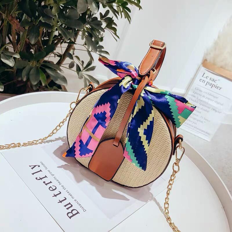 雜誌春夏新款可愛立體編織包幾何圖彩色絲巾手提小包肩背包側背包渡假風小包