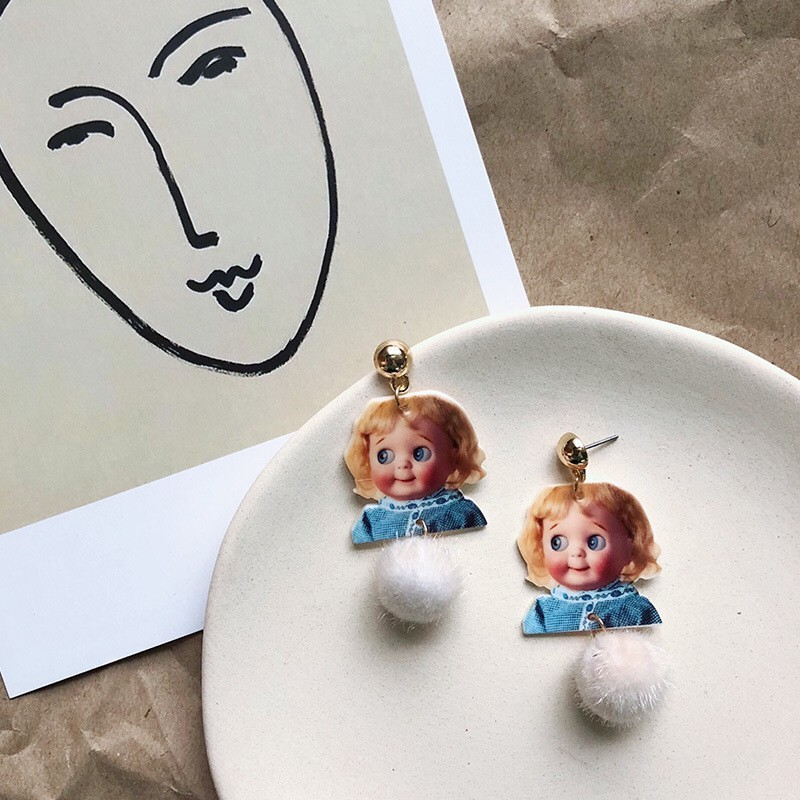 洋娃娃壓克力造型可愛甜美毛球耳釘耳環美式娃娃垂墜耳環夾式耳環