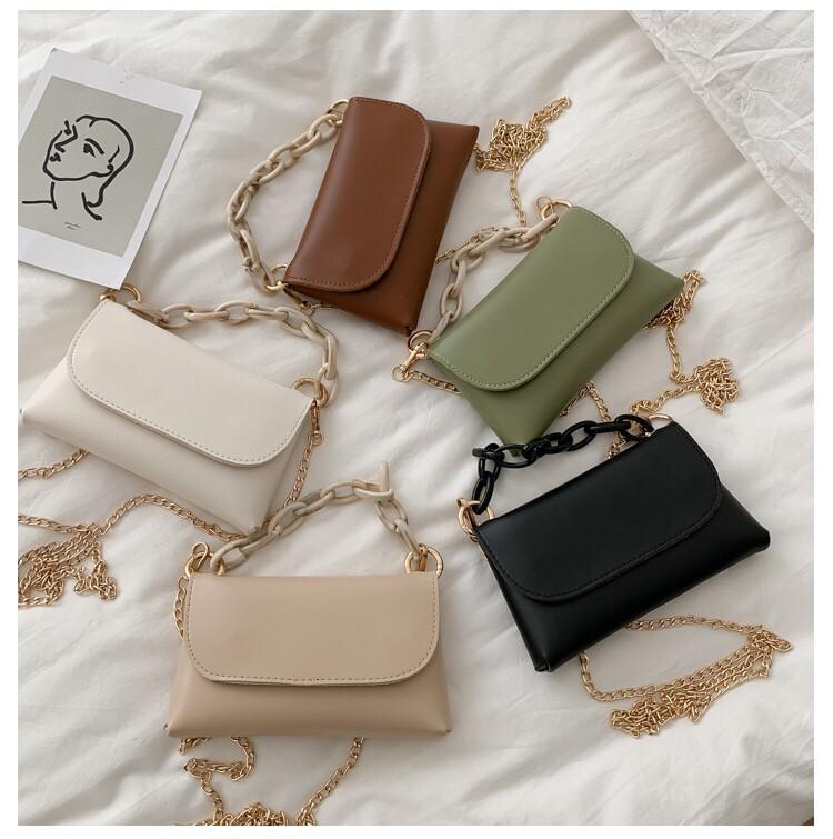 森林系手提小包金屬鏈背帶手機包肩背小包側背護照包錢包氣質手拿包