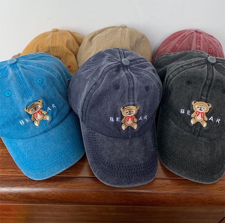 水洗布仿舊色系熊熊刺繡造型老帽潮流個性百搭復古鴨舌帽男帽女帽棒球帽