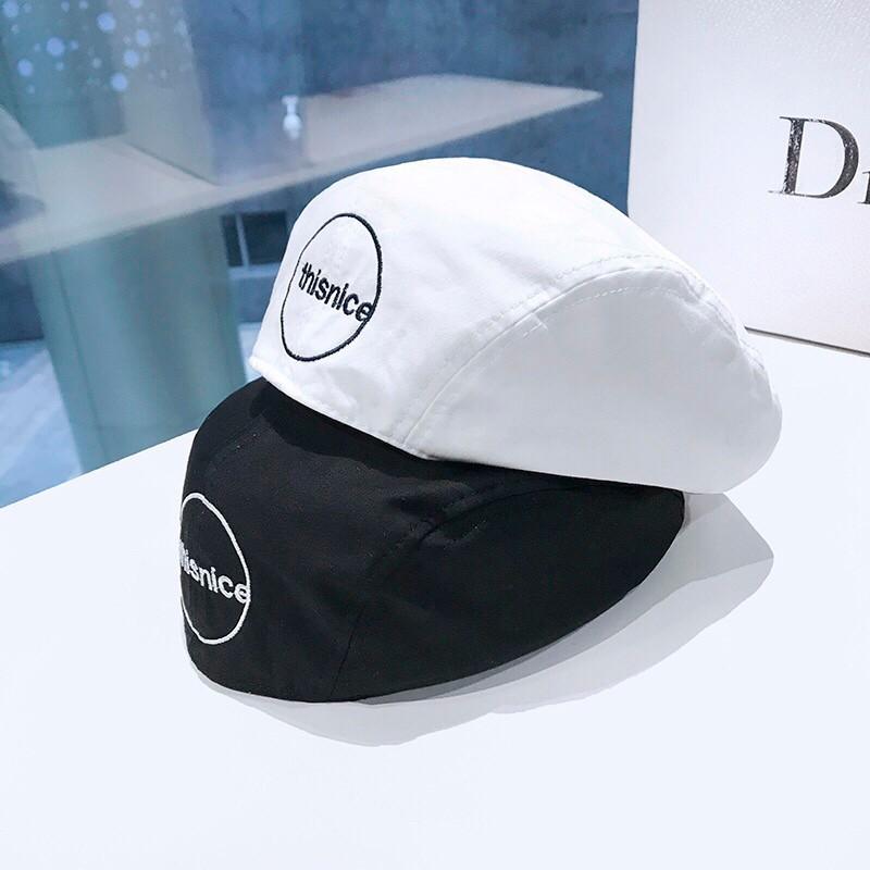 日系字母刺繡貝雷帽女夏季薄款透氣女帽百搭帽網紅英倫風帽子男女造型帽