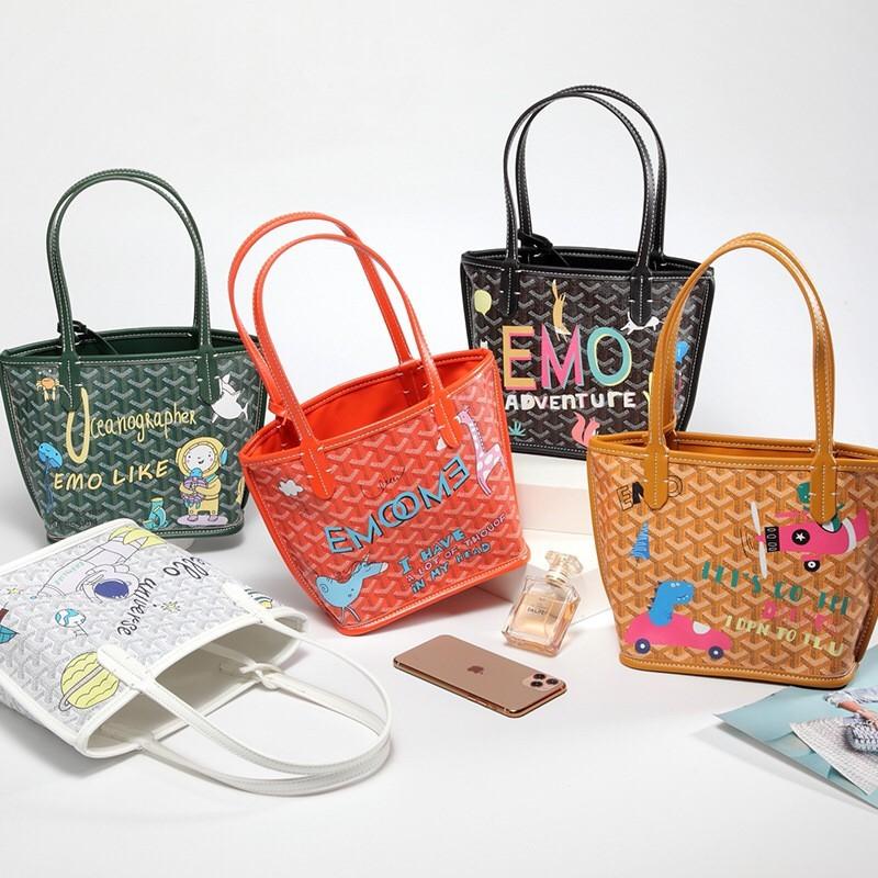 韓國熱賣款繽紛色系卡通狗牙包塗鴉包手提女包子母托特包時髦街頭購物袋女包