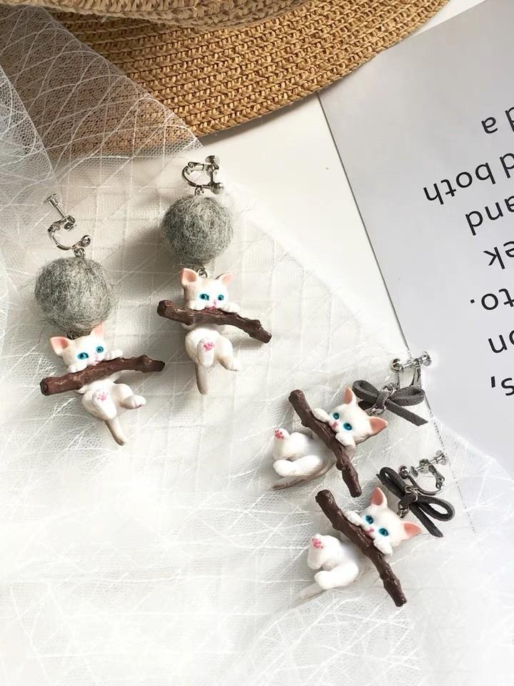 韓國可愛貓咪造型設計款耳環特色手作夾式耳環