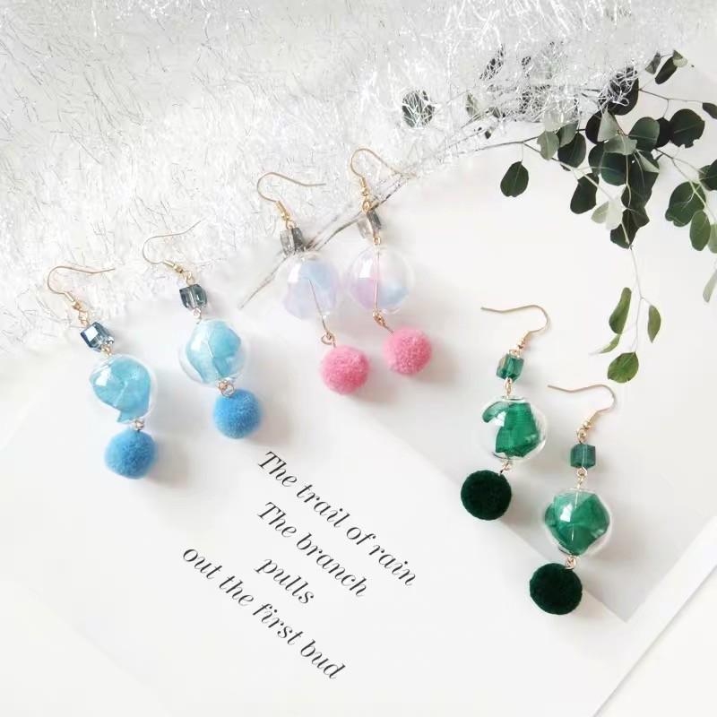 韓國透明立體水晶球粉嫩毛球耳環氣質可愛垂墜飾品