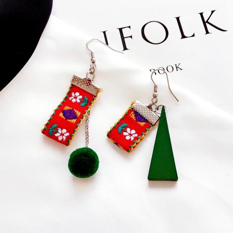 日本波西米亞風緞帶毛球木頭耳環特色民族風垂掛飾品