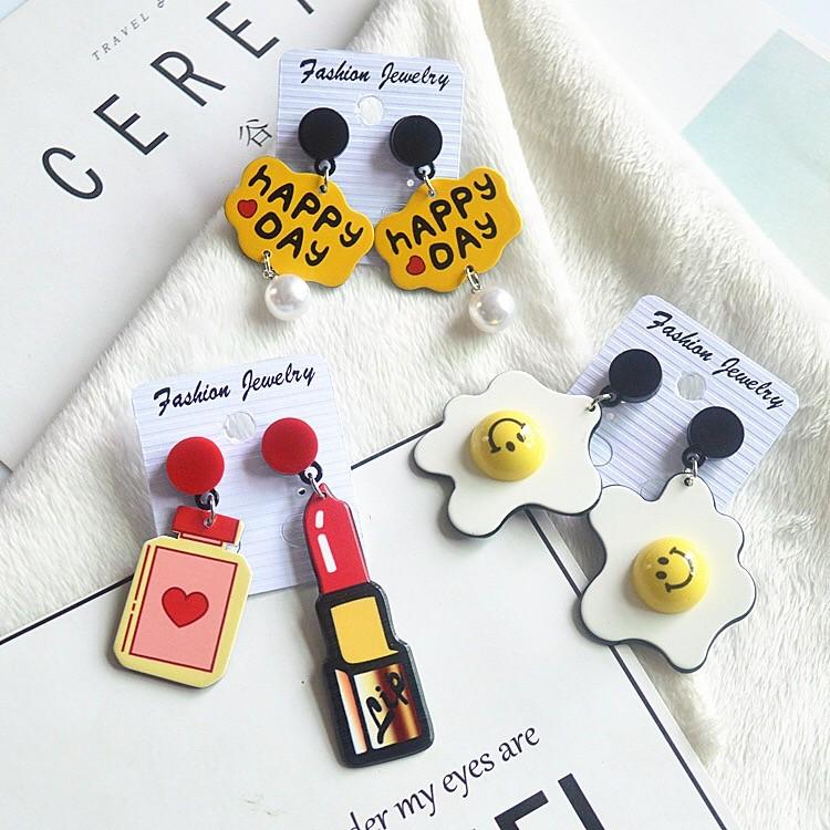 日系原宿創意造型可愛創意壓克力耳環手作飾品