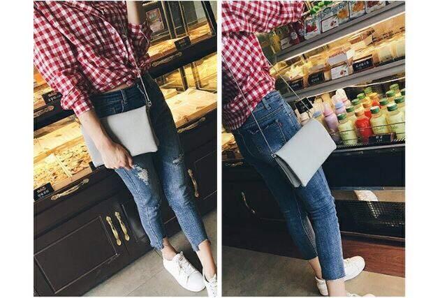 2018春夏粉嫩方型雙層隔層韓國手拿包鍊帶包斜背包肩背包