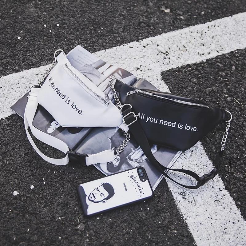 潮流英文字母經典黑白鍊帶腰包胸包手機包肩背包側背包