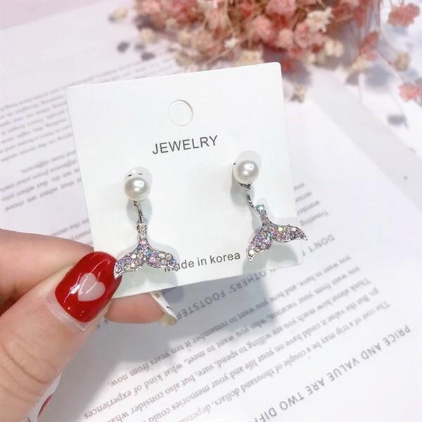 韓國珍珠氣質小巧典雅美人魚造型耳環前後扣式立體耳環