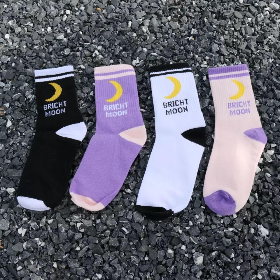 帥氣潮流中筒襪月亮圖造型襪子男襪女襪情侶襪
