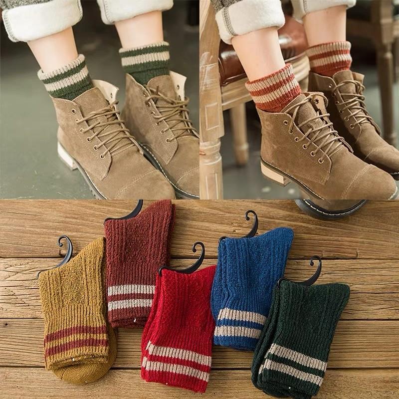 秋冬款深色復古系多造型麻花樣式中筒襪日系學院風襪
