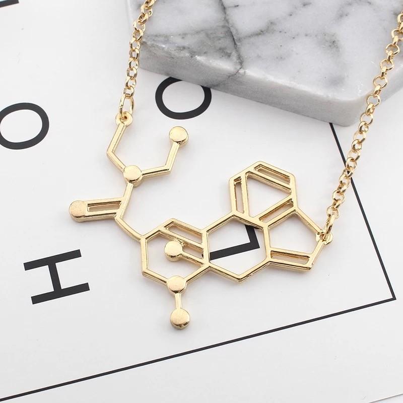 歐美時尚理科生物化學結構幾何分子方程式短項鍊鎖骨項鍊