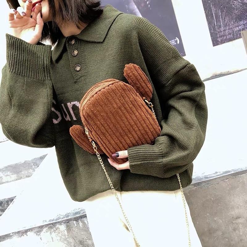 可愛潮流仙人掌絨布料造型鏈帶小包手機包斜背包肩背包