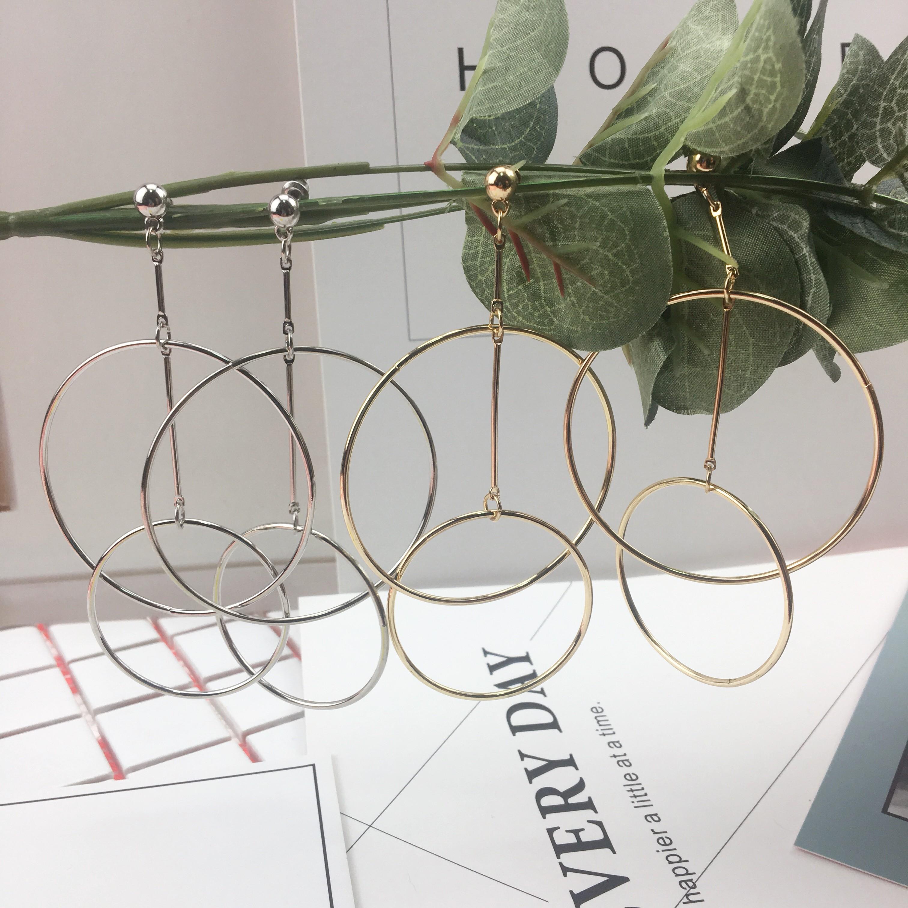 韓國簡約幾何圖形金屬圓形簍空同心圓普普風設計