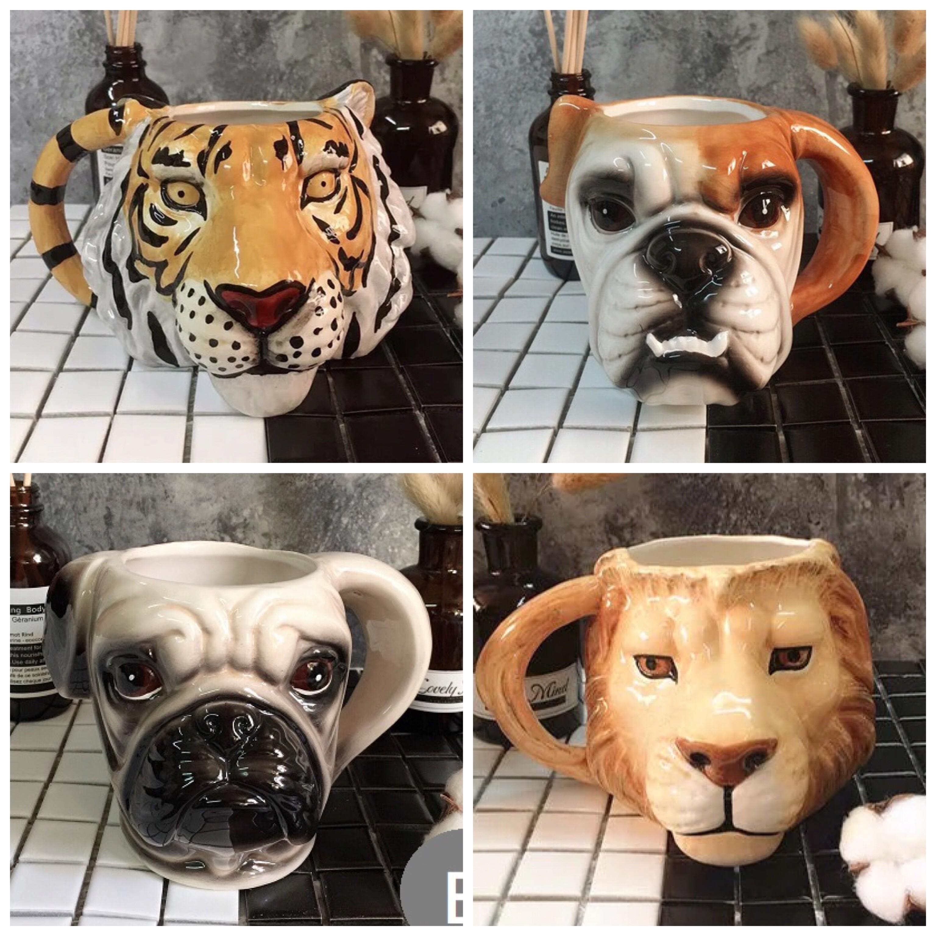 獅子老虎巴戈英鬥造型陶瓷馬克杯茶杯咖啡杯水杯子
