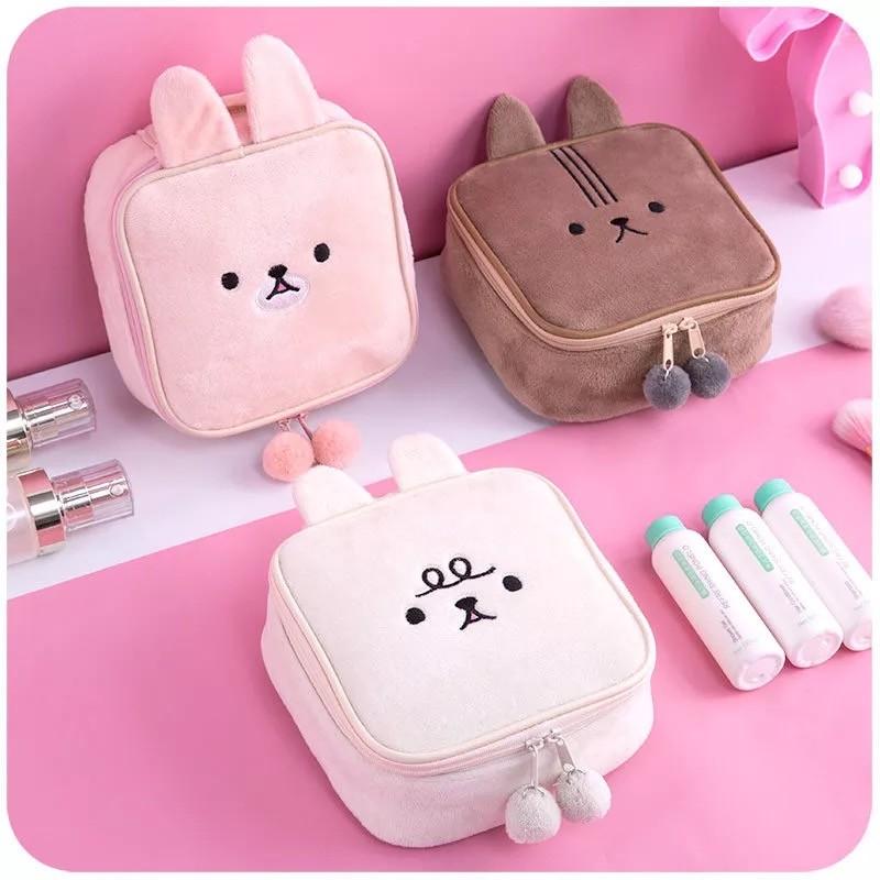 毛茸茸兔子造型手提包化妝包收納包雙拉鍊美妝用品包