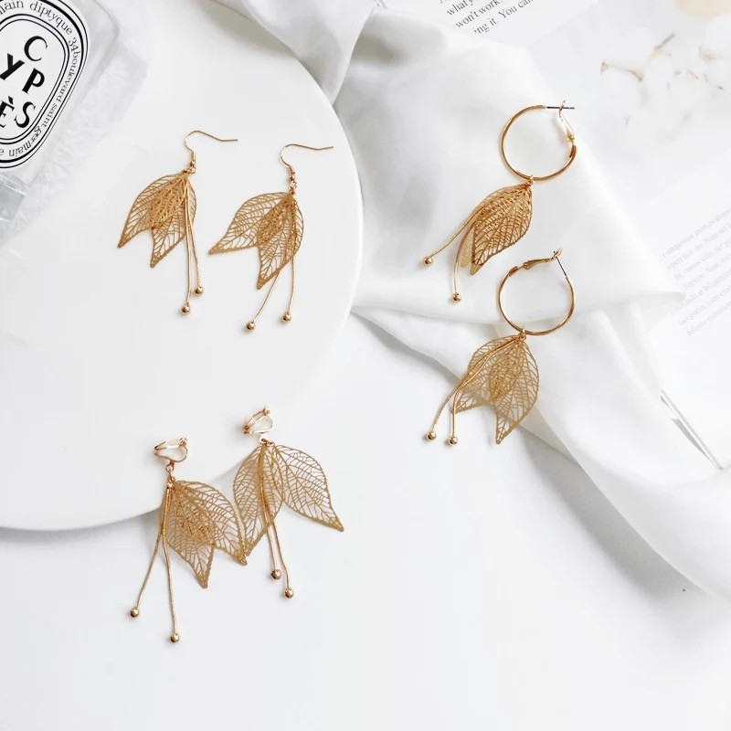 金屬輕量款簡約樹葉設計流蘇長款耳環