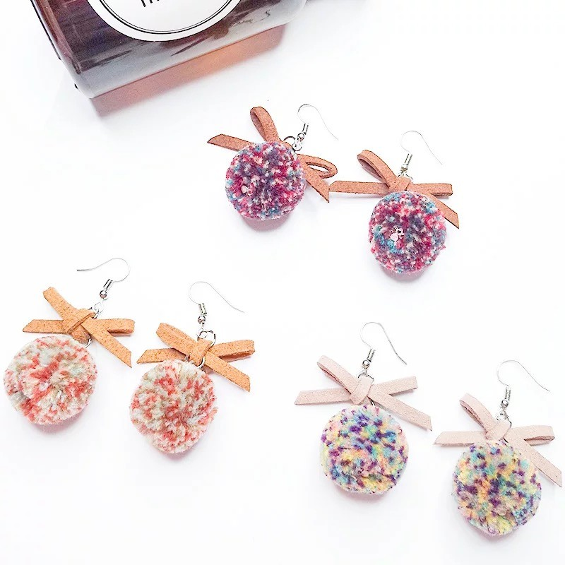 日韓系可愛超Q毛球文青皮革蝴蝶結造型氣質百搭耳環垂掛飾品