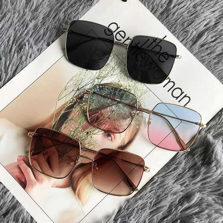 春夏新款周楊青方形款反光透光黑色墨鏡太陽眼鏡造型眼鏡