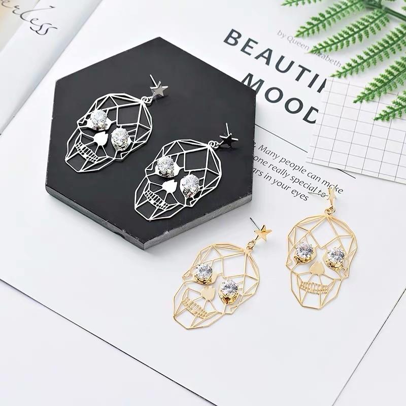 金屬線條精緻骷顱造型個性質感耳環時髦歐美風格垂墜飾品
