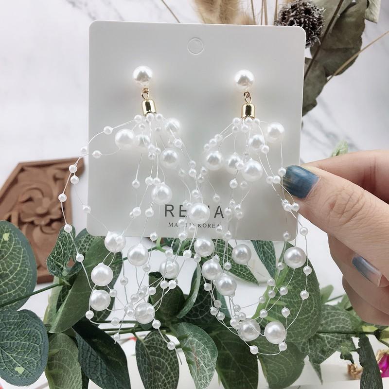 韓國白色珍珠立體造型華麗氣質優雅造型耳環超仙設計款耳環