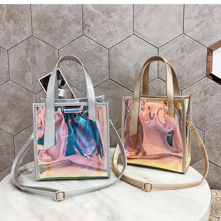 潮流款雷射透明果凍包包中包購物包手提肩側背斜背百搭夏天韓國熱賣款