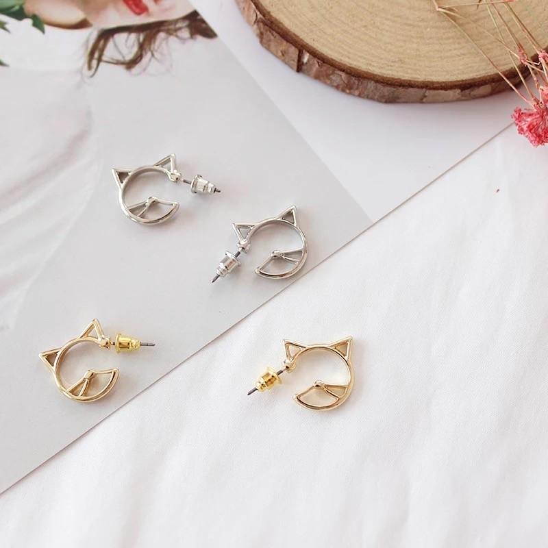 日韓系金屬線條立體貓咪設計耳環圈圈小C圈耳釘飾品