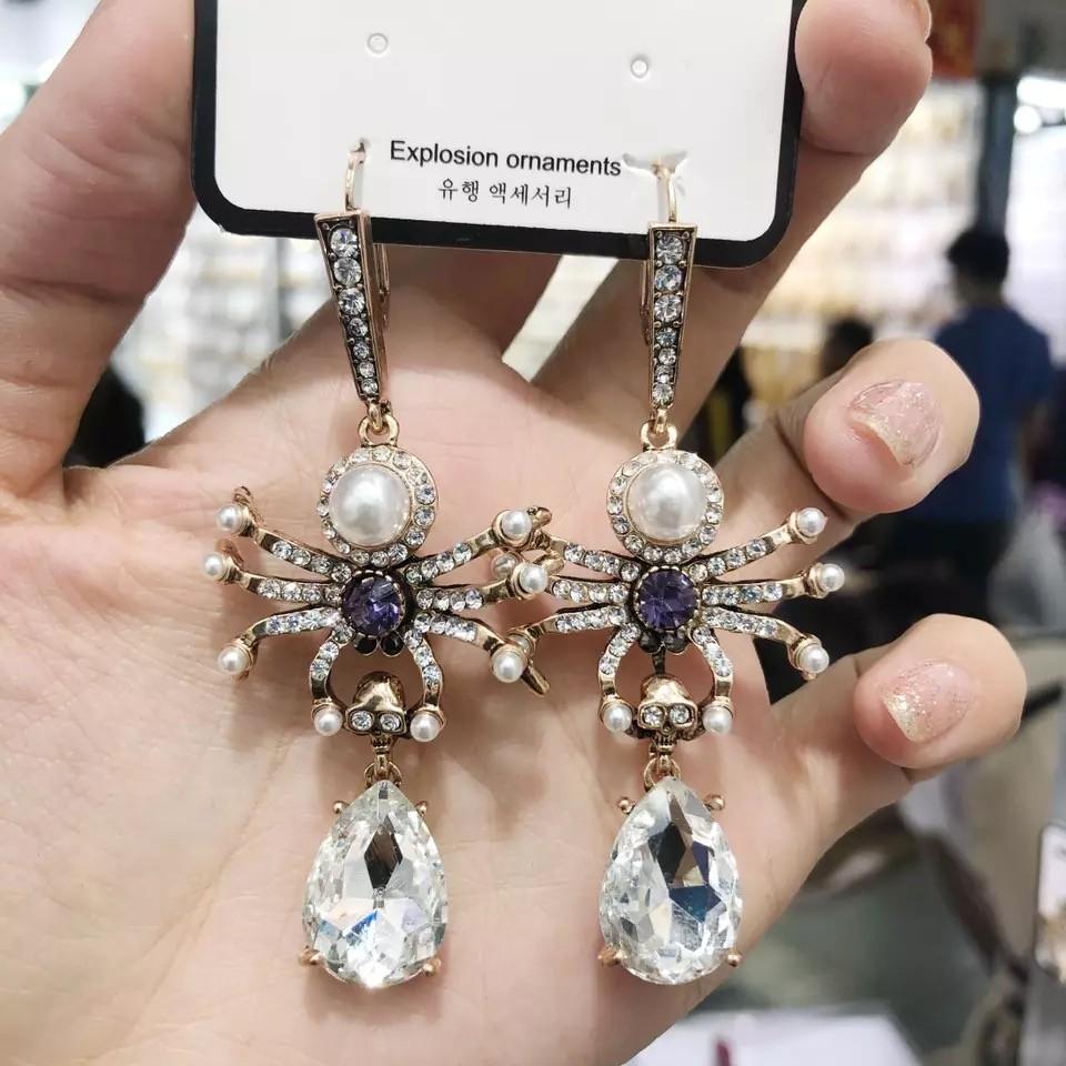 質感華麗特色鑽鑽蜘蛛造型耳環垂掛耳環創意手作飾品
