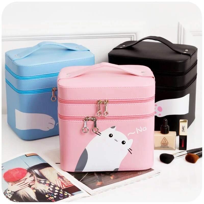 貓咪糖果色大容量雙層手提化妝箱化妝包