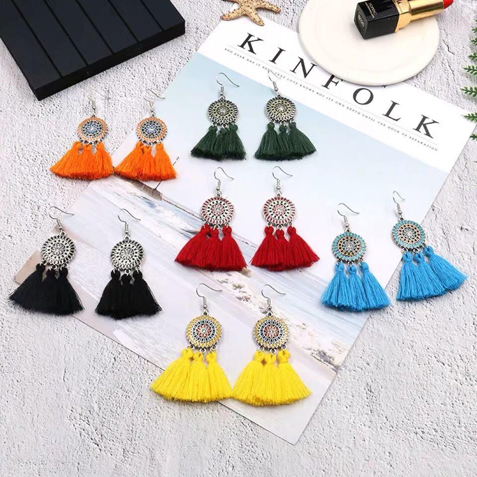 韓國手工波西米亞風格彩色捕夢網流蘇設計款耳環民族風女神長形耳環