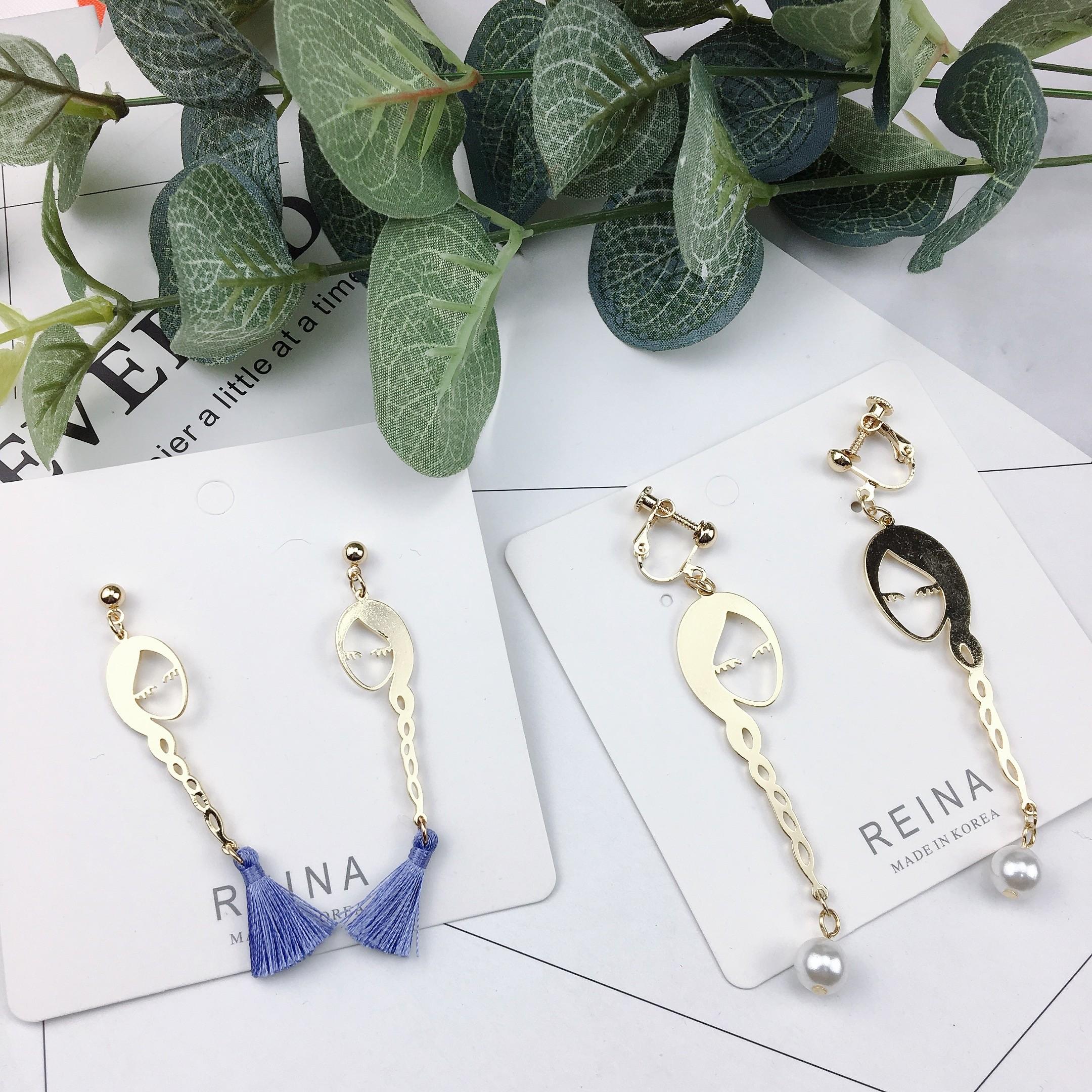 韓國可愛長辮子女孩金屬設計創意特色白色珍珠流蘇耳環