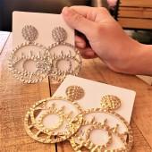 韓國直送造型之眼金屬個性圓形手作設計款耳釘耳環夾式耳環