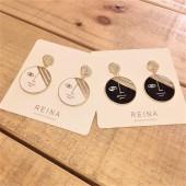 韓國設計手作創意潮流黑白滴油色藍眼睛人臉圓形鑽鑽耳釘耳環