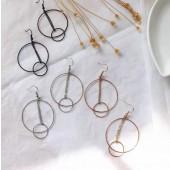 韓國簡約幾何圖形金屬圓形縷空同心圓普普風設計