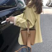 新款手提簡約容量純色子母包韓國可調節肩帶單肩側背百搭PU皮革造型水桶包