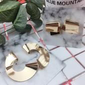 歐美簡約金屬幾何圖形立體氣質耳釘造型金色耳環