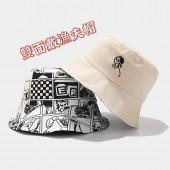 雙面戴韓國創意人物刺繡設計風格漁夫帽男女日系趣味盆帽布帽女休閒遮陽帽漫畫塗鴉感漁夫帽